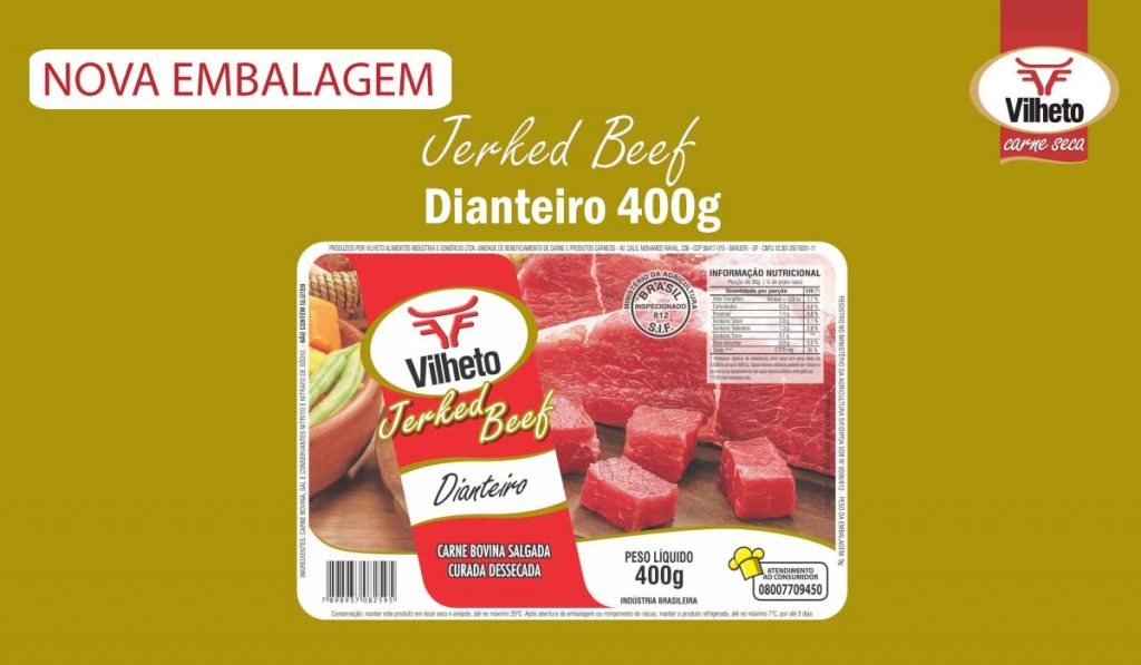 Nova embalagem de carne seca Vilheto de dianteiro 400g