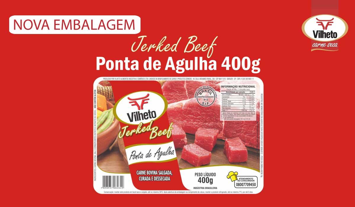 Nova embalagem de carne seca Vilheto de ponta de agulha 400g