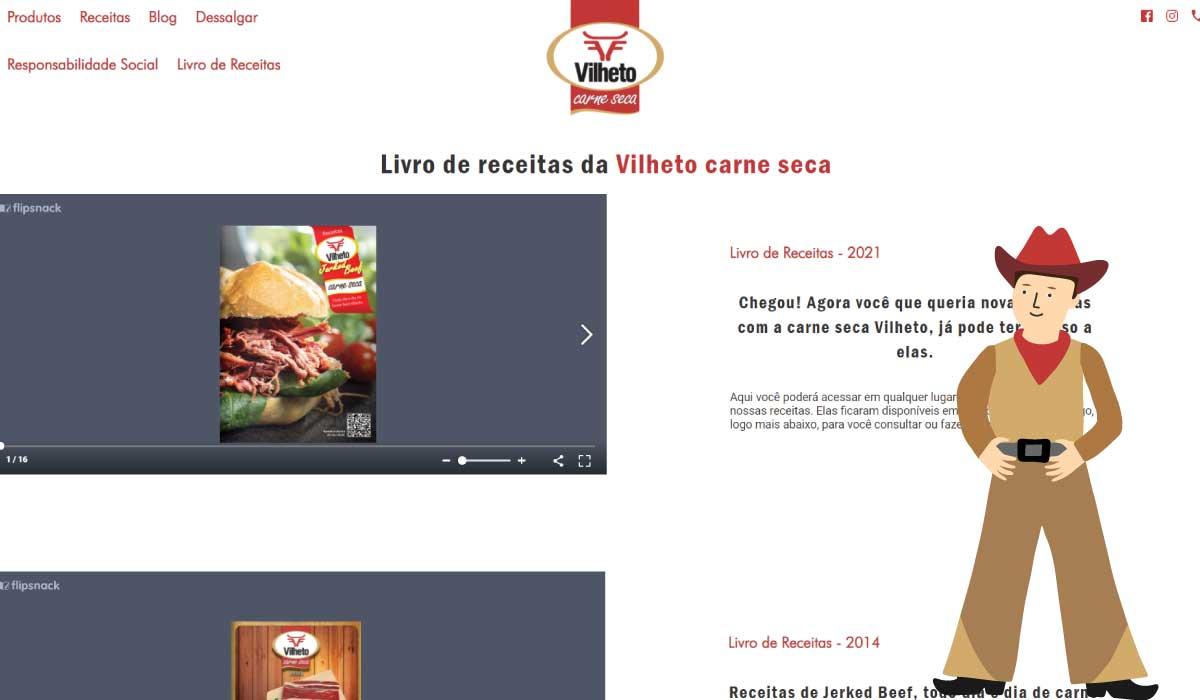 Nova seção para os livros de Receitas da carne seca Vilheto