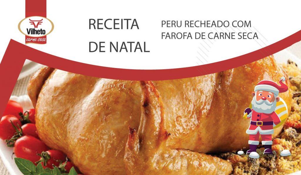 Receita de Natal - Peru Recheado com Farofa de Carne Seca